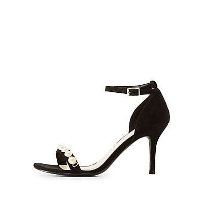 Qupid Pearl Embellished Two-Piece Sandals