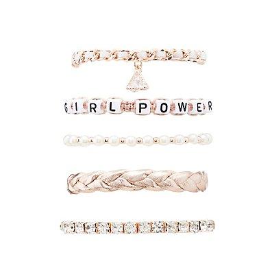 Girl Power Layering Bracelets - 5 Pack