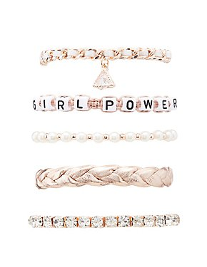 Girl Power Layering Bracelets - 5 Pack