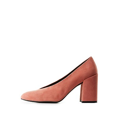 Qupid Pointed Toe Block Heel Pumps