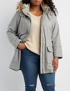 Plus Size Faux Fur-Trim Anorak Coat