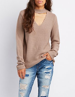 Choker Neck Cut-Out Sweater