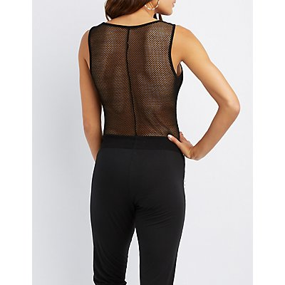 Fishnet-Trim Crew Neck Bodysuit