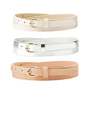 Plus Size Metallic & Glitter Belts - 3 Pack