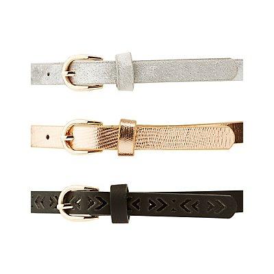 Plus Size Metallic, Laser Cut & Velvet Belts - 3 Pack