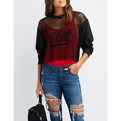 Mesh Cropped Sweater