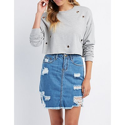 Grommet Crop Sweater
