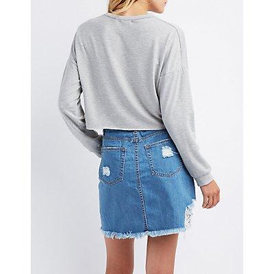 Grommet Crop Sweater