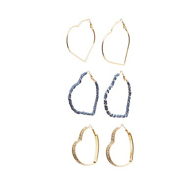 Mixed Embellished Heart Hoop Earrings - 3 Pack