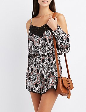 Printed Crochet-Trim Cold Shoulder Romper