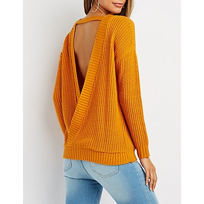 Shaker Stitch Wrap-Back Sweater