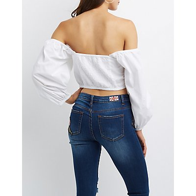 Off-The-Shoulder Button-Up Crop Top
