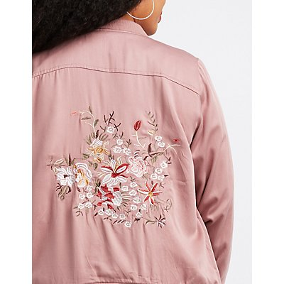 Plus Size Embroidered Twill Bomber Jacket