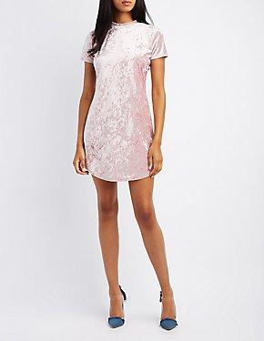 Velvet Mock Neck Bodycon Dress