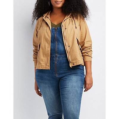 Plus Size Hooded Cropped Twill Jacket