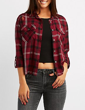 Destroyed Plaid Button-Up Top