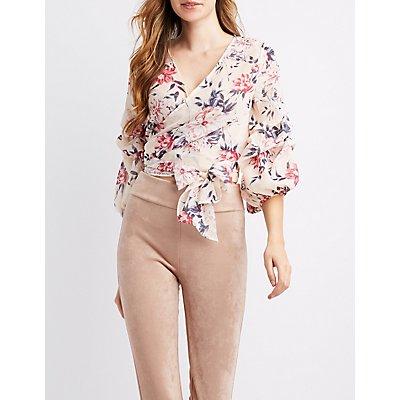 Floral Mesh Wrap-Tie Crop Top