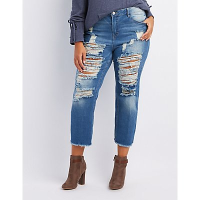 Plus Size Refuge Destroyed Straight Leg Jeans