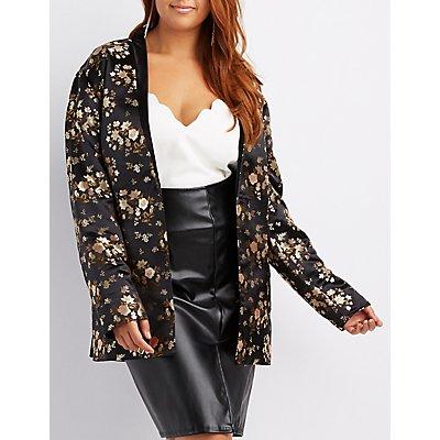 Plus Size Satin Brocade Longline Blazer
