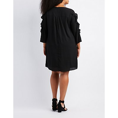 Plus Size Ruffle & Lace-Trim Shift Dress