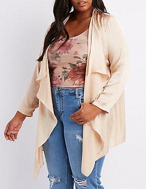 Plus Size Cascade Front Kimono