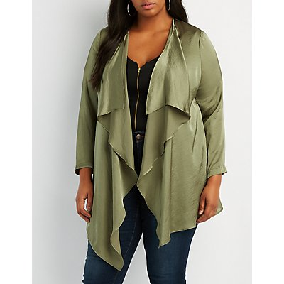 Plus Size Satin Longline Duster