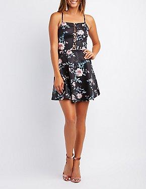 Floral Lattice-Front Skater Dress