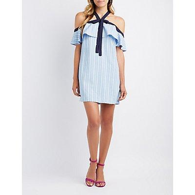 Striped Halter Cold Shoulder Dress
