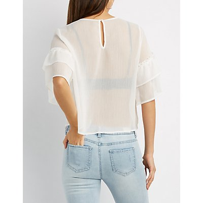 Sheer Embroidery Ruffle-Trim Top