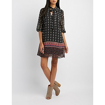 Border Print Tie-Neck Shift Dress
