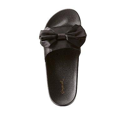 Qupid Satin Bow Slide Sandals