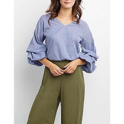 Striped Poplin Ruched Sleeve Top