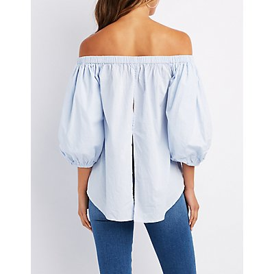 Off-The-Shoulder Bubble Sleeve Top