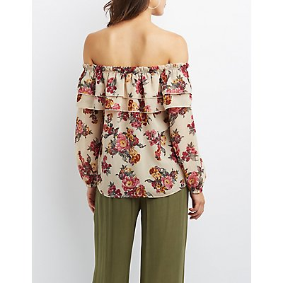 Floral Ruffle Off-The-Shoulder Top