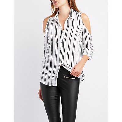 Striped Cold Shoulder Button-Up Top