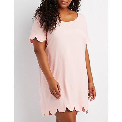 Plus Size Scalloped-Trim Shift Dress
