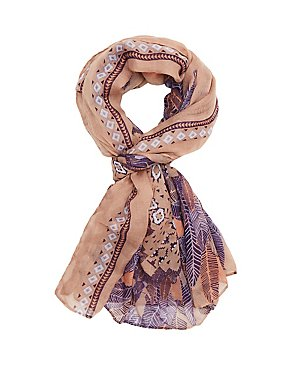 Feather Printed Wrap Scarf