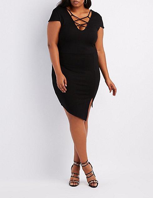 Plus Size Strappy Asymmetrical Bodycon Dress | Charlotte Russe