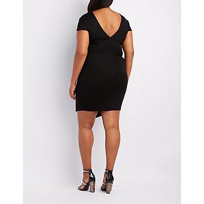 Plus Size Strappy Asymmetrical Bodycon Dress
