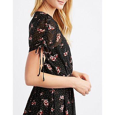 Floral Mesh Wrap Dress