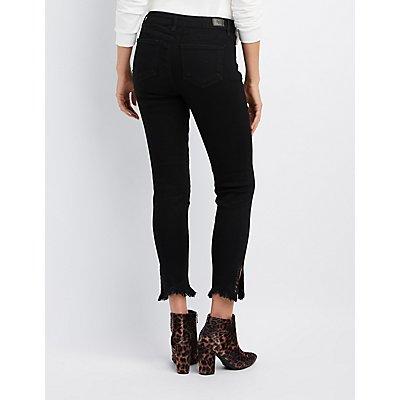 Grommet-Detail Hem Skinny Jeans