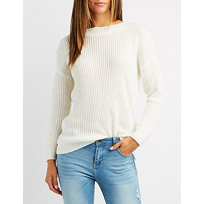 Shaker Stitch Surplice-Back Sweater
