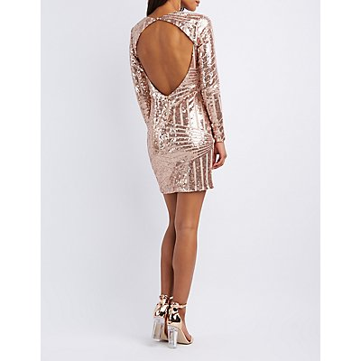 Sequins Open-Back Bodycon Dress