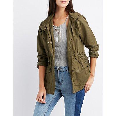 Hooded Lace-Up Anorak Jacket