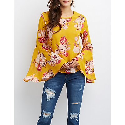 Floral Lattice-Back Bell Sleeve Top