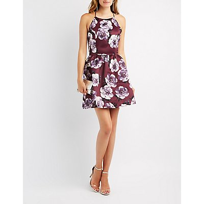 Floral Bib Neck OPen-Back Skater Dress