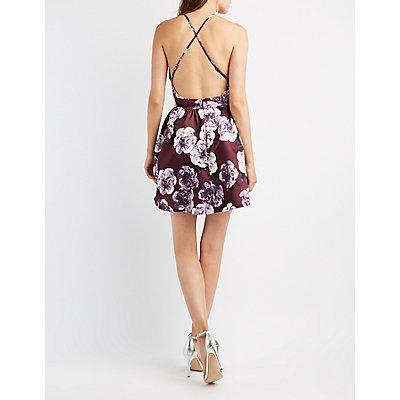 Floral Bib Neck OPen-Back Skater Dress