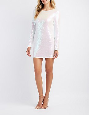 Sequin Open Back Bodycon Dress