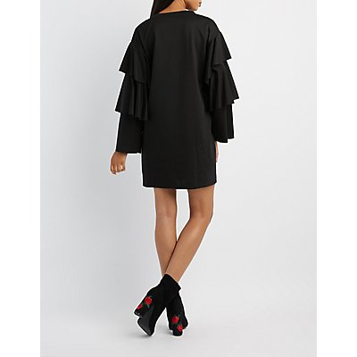 Tiered Ruffle Sleeve Sweatshirt Dress
