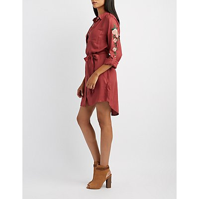 Floral Embroidered Belted Shirt Dress
